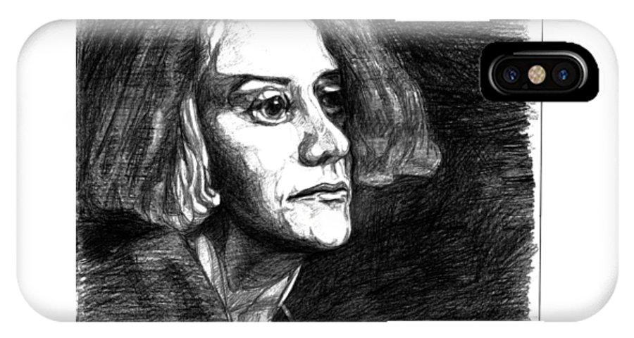 Ink IPhone X Case featuring the painting Mitya. 2014 by Tasha Chernyavskaya