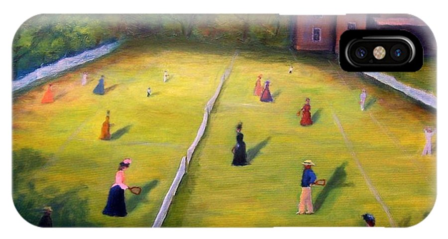 Tennis Art IPhone Case featuring the painting Mixed Doubles by Gail Kirtz
