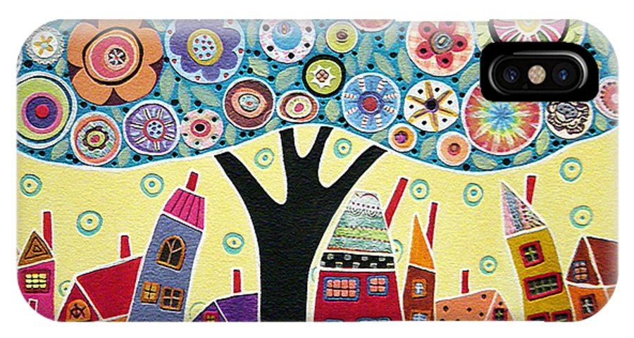 Landscape IPhone X Case featuring the painting Mixed Media Collage Tree And Houses by Karla Gerard
