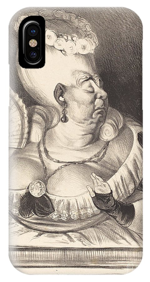 IPhone X Case featuring the drawing Mlle. Etienne-goconde-cun?gonde-b?cassine by Honor? Daumier