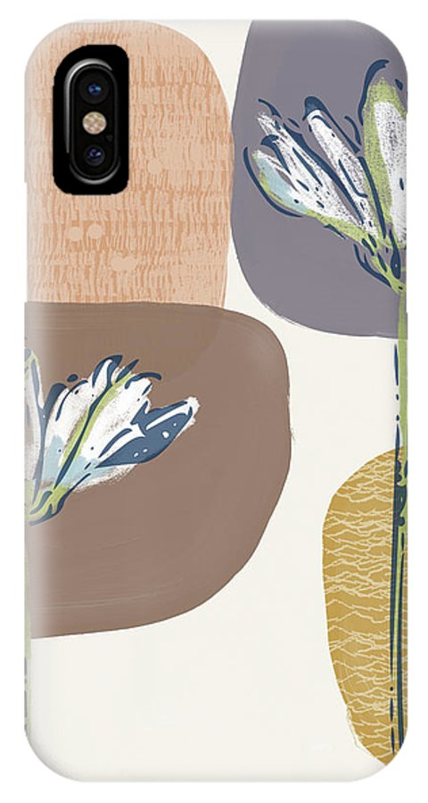 Modern IPhone X Case featuring the mixed media Modern Fall Floral 1- Art By Linda Woods by Linda Woods