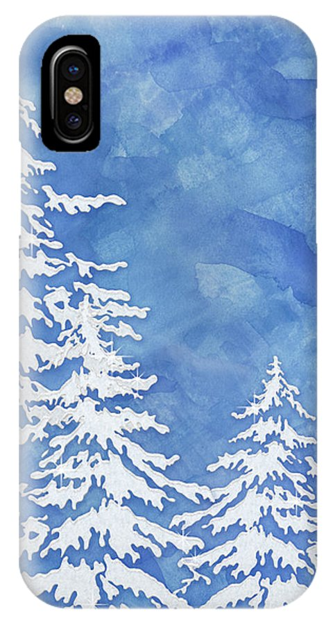 Watercolor IPhone X Case featuring the painting Modern Watercolor Winter Abstract - Snowy Trees by Audrey Jeanne Roberts