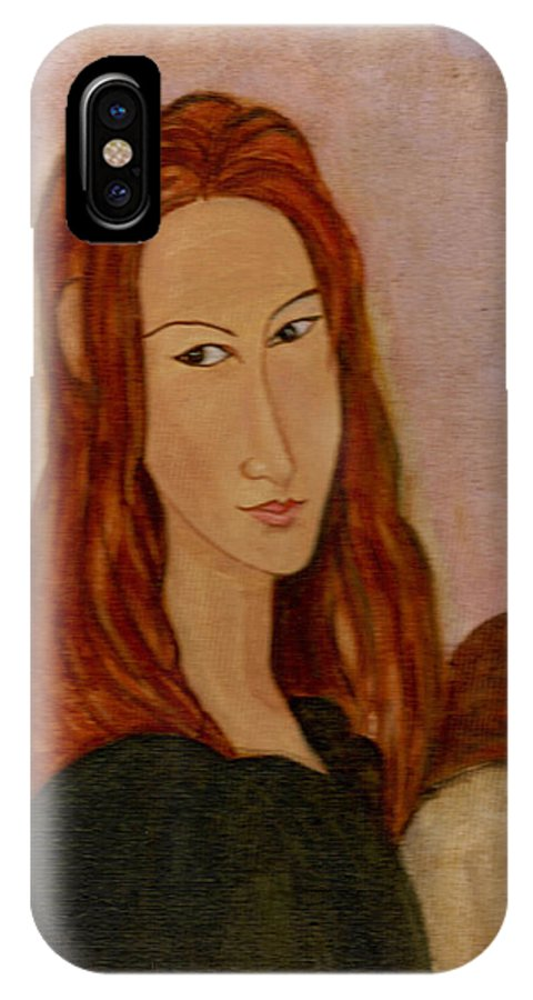 Modgiliani's Painting IPhone X Case featuring the painting Modgiliani by Asha Sudhaker Shenoy