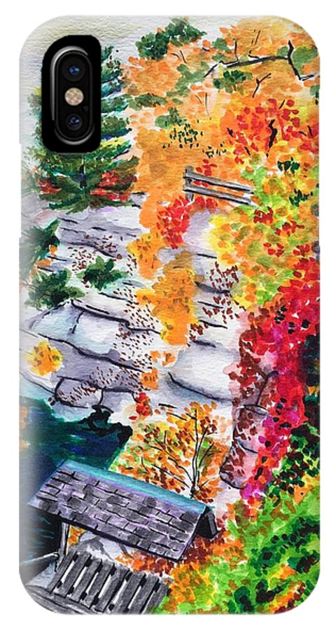 Autumn IPhone X Case featuring the painting Mohonk Preserve in Autumn by Judy Swerlick
