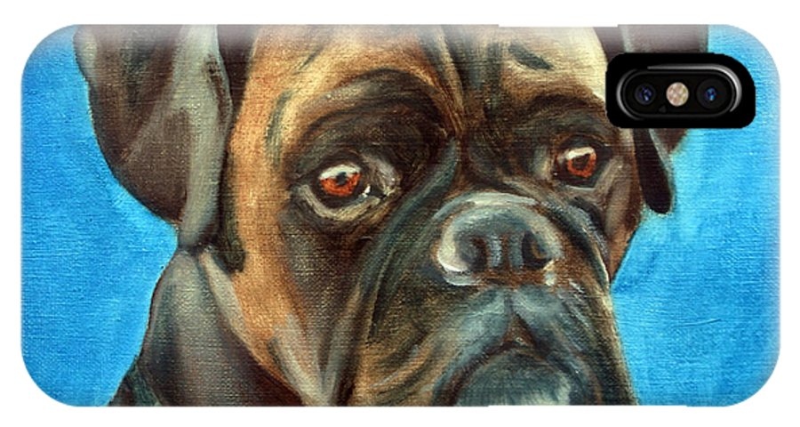 Boxer Dog IPhone X Case featuring the painting Moira by Fiona Jack