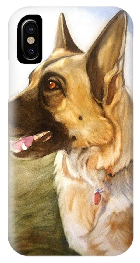 German Shepherd IPhone X Case featuring the painting Mollie by Marilyn Jacobson