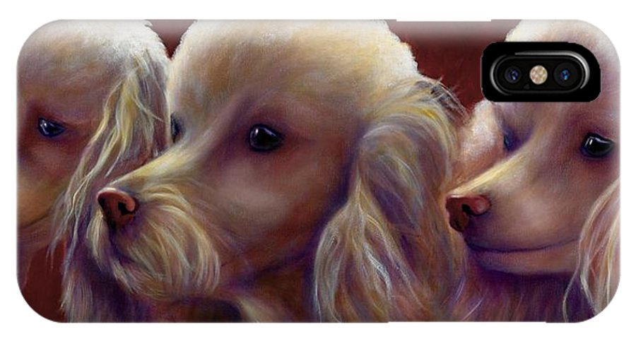 Dogs IPhone X Case featuring the painting Molly Charlie And Abby by Shannon Grissom