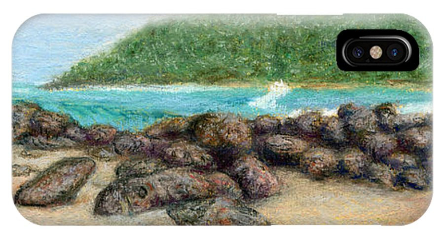 Coastal Decor IPhone Case featuring the painting Moloa'a Rocks by Kenneth Grzesik