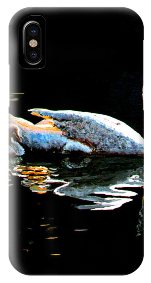 Swan IPhone X Case featuring the painting Mom And Baby Swan by Stan Hamilton