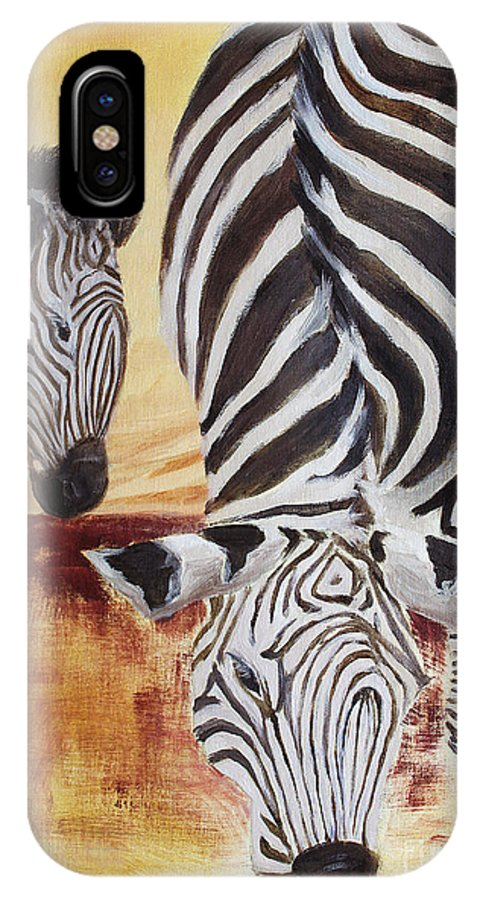 Animal IPhone X Case featuring the painting Momma And Baby by Todd Blanchard