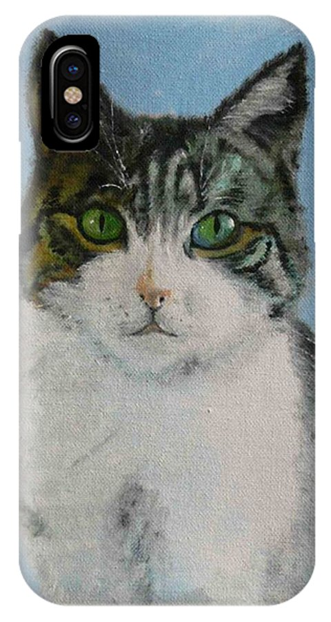 Tomcat IPhone X Case featuring the painting Momo by Helmut Rottler