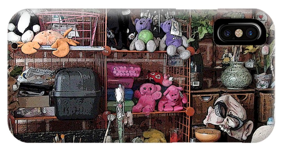 Art Studio Still Life Stuffed Animal Stuffed Animals Paint Brush Paint Brushes Art Supplies Mom Cave Floral Flower Flowers IPhone X Case featuring the photograph Mom's Cave by Grace Rose
