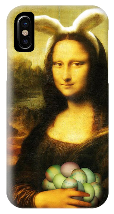 Portrait IPhone X Case featuring the painting Mona Lisa Easter Bunny by Gravityx9 Designs