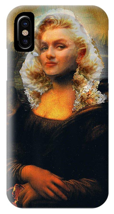 Mona Lisa IPhone X Case featuring the digital art Mona Marilyn by Seth Weaver