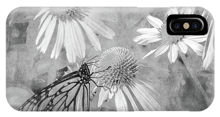 Monarch IPhone X Case featuring the digital art Monarch Butterfly In Black And White by David Stasiak