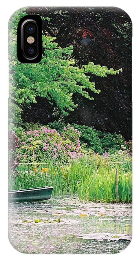 Monet IPhone X Case featuring the photograph Monet's Garden Pond And Boat by Nadine Rippelmeyer