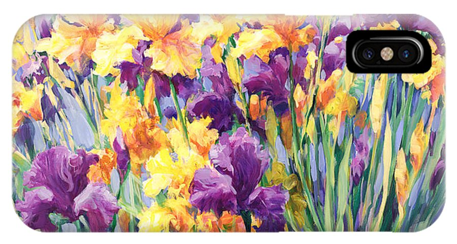 Purple & Yellow Iris Compete For Attention As They Reach Towards The Blue Sky In This Garden In France. IPhone X Case featuring the painting Monet's Iris Garden by Laurie Hein