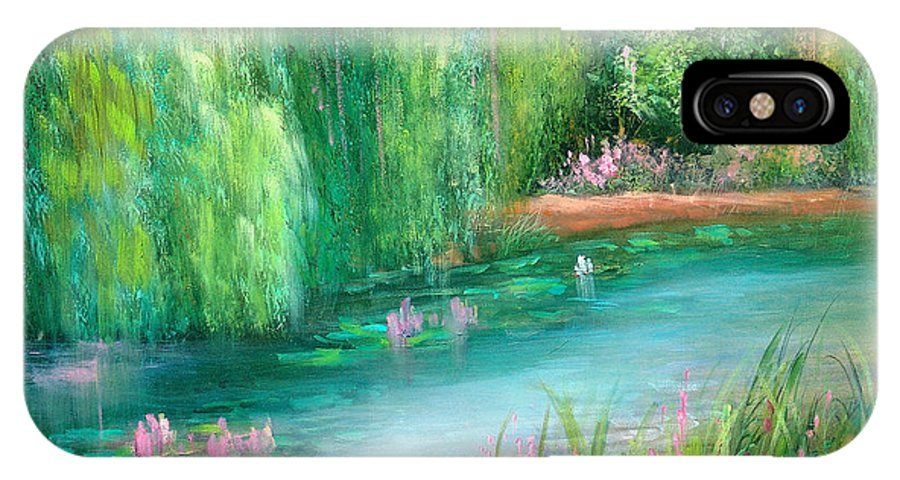 Monet IPhone X Case featuring the painting Monet's Pond by Sally Seago
