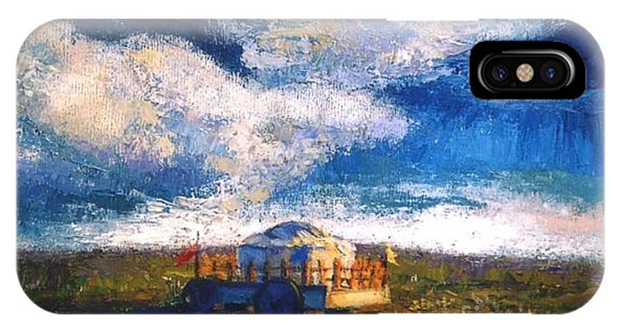 Momgolian IPhone X Case featuring the painting Mongolian Home by Meihua Lu