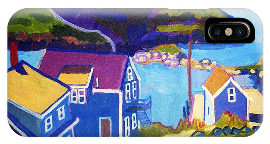 Seascape IPhone X Case featuring the painting Monhegan Harbor by Debra Bretton Robinson