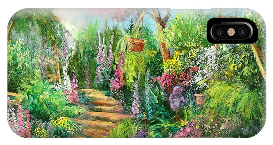 Gardens IPhone X Case featuring the painting Monica's Garden by Sally Seago