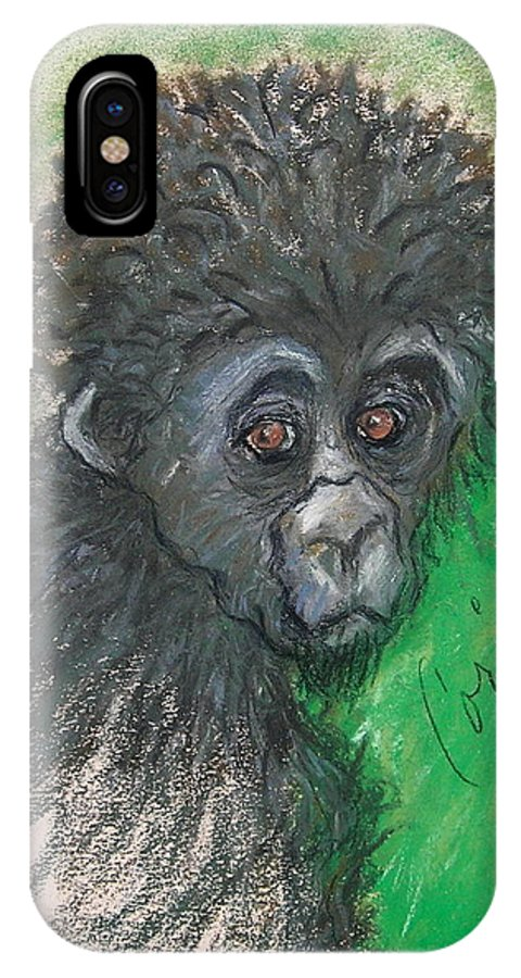 Monkey IPhone X Case featuring the drawing Monkey Business by Cori Solomon
