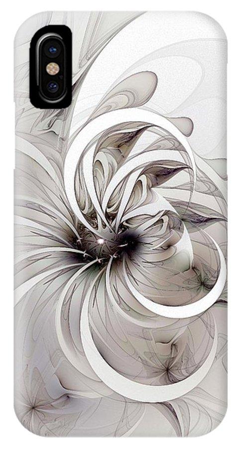 Digital Art IPhone X Case featuring the digital art Monochrome Flower by Amanda Moore