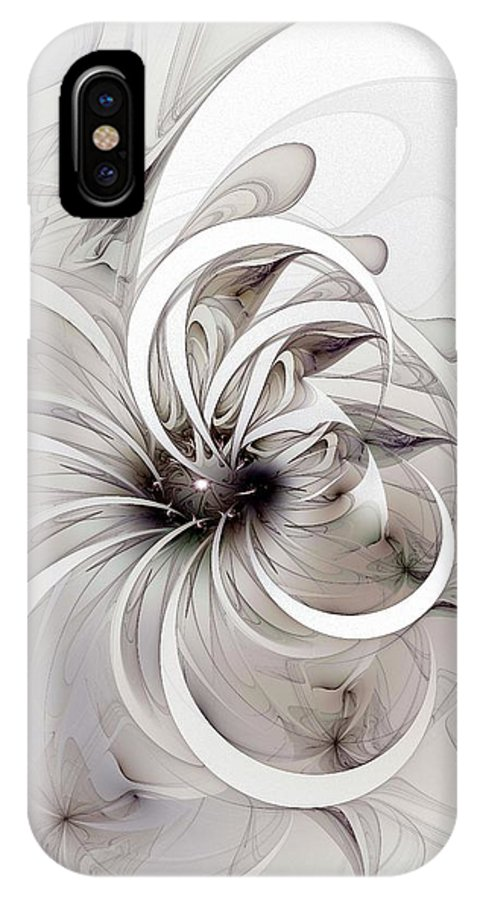 Digital Art IPhone Case featuring the digital art Monochrome Flower by Amanda Moore