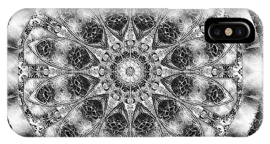 Kaleidoscope IPhone Case featuring the digital art Monochrome Kaleidoscope by Charmaine Zoe