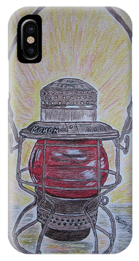 Monon IPhone Case featuring the painting Monon Red Globe Railroad Lantern by Kathy Marrs Chandler