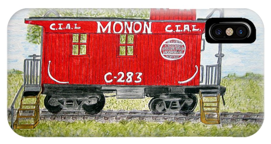 Monon IPhone X Case featuring the painting Monon Wood Caboose Train C 283 1950s by Kathy Marrs Chandler