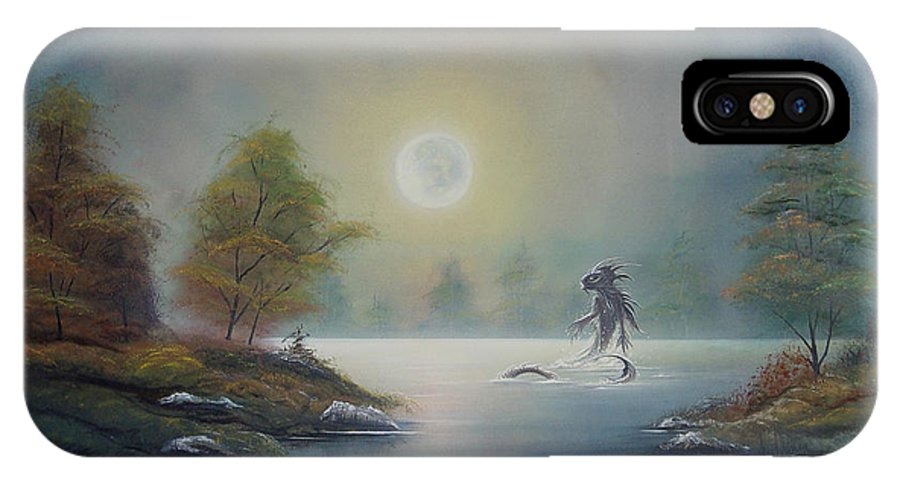 Landscape IPhone X Case featuring the painting Monstruo Ness by Angel Ortiz