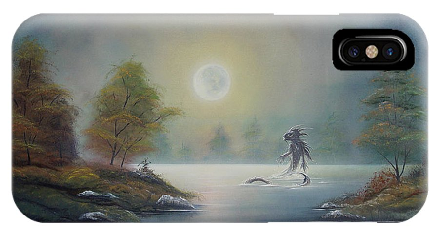 Landscape IPhone X / XS Case featuring the painting Monstruo Ness by Angel Ortiz