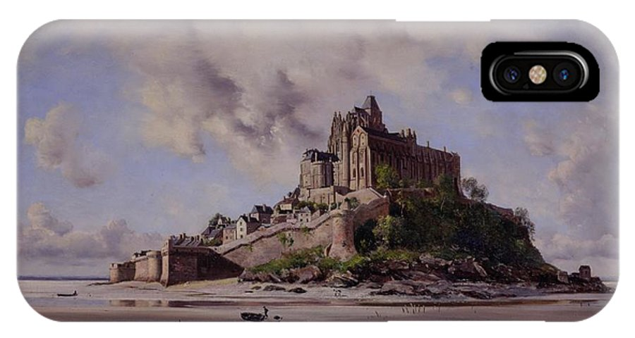 Mont Saint-michel IPhone X Case featuring the painting Mont Saint Michel by Emmanuel Lansyer
