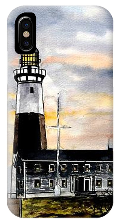 Montauk Point IPhone X Case featuring the painting Montauk Point Lighthouse by Derek Mccrea