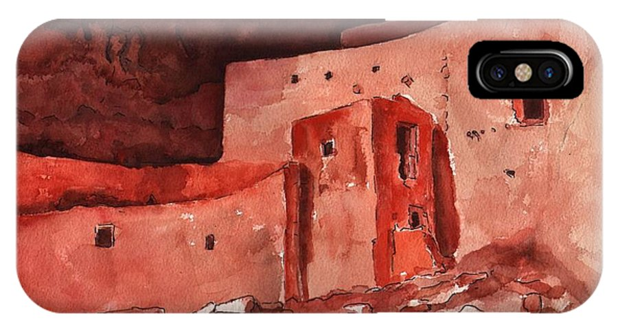 Cliff Dwellers IPhone X Case featuring the painting Montezuma's Castle by Sharon Mick