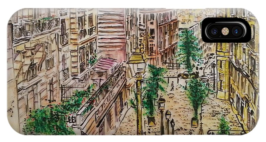 City Scape IPhone X / XS Case featuring the painting Montmarter  by Eli Gross