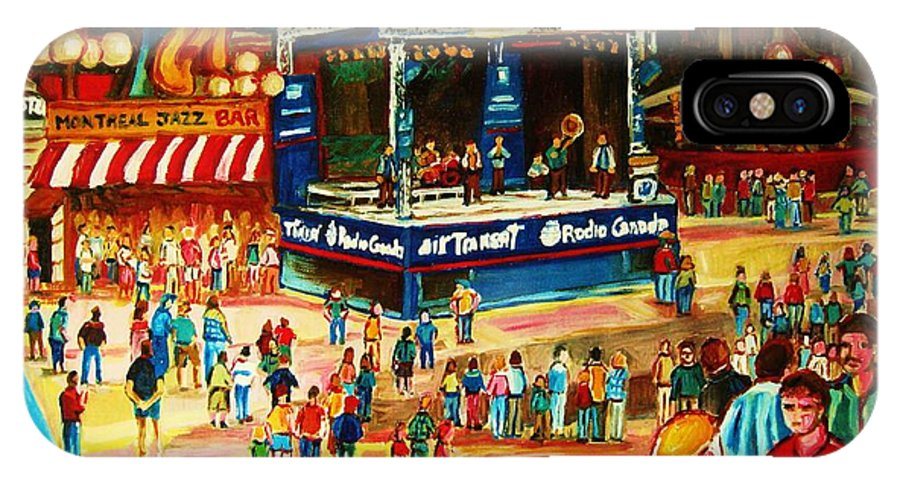 Montreal IPhone X Case featuring the painting Montreal Jazz Festival by Carole Spandau
