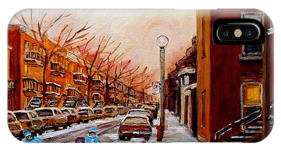Montreal Streetscene IPhone X Case featuring the painting Montreal Street Hockey Game by Carole Spandau