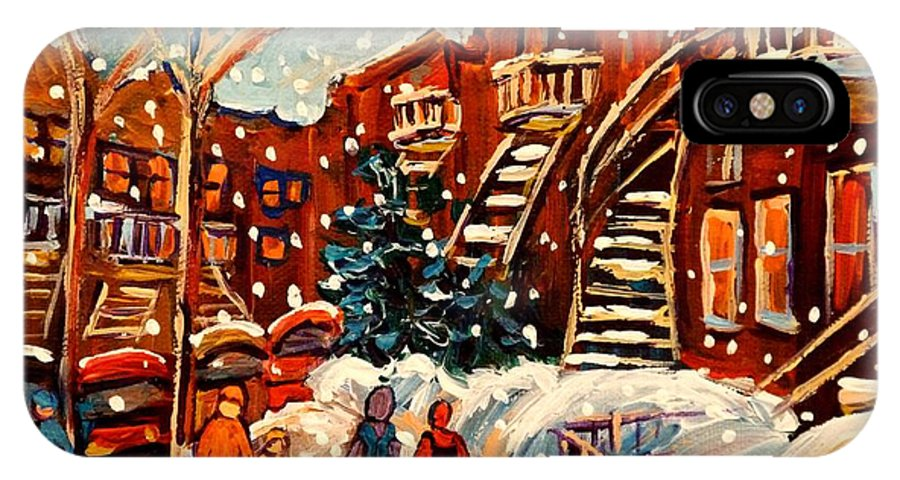Montreal IPhone X Case featuring the painting Montreal Street In Winter by Carole Spandau