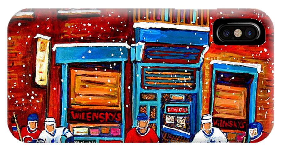 Montreal IPhone X Case featuring the painting Montreal Wilensky Deli By Carole Spandau Montreal Streetscene And Hockey Artist by Carole Spandau