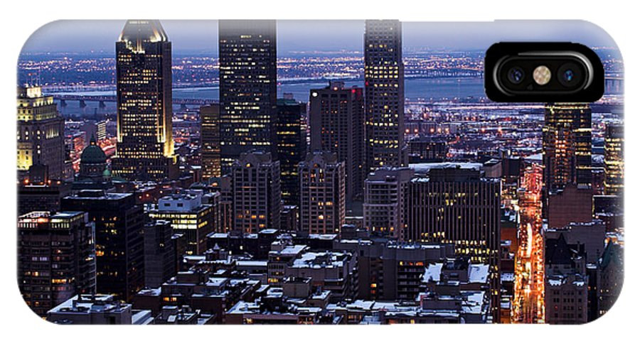 Montreal IPhone X Case featuring the photograph Montreal Winter Cityscape by Pierre Leclerc Photography