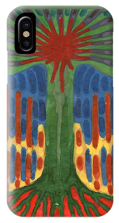 Colour IPhone X Case featuring the painting Monument by Wojtek Kowalski