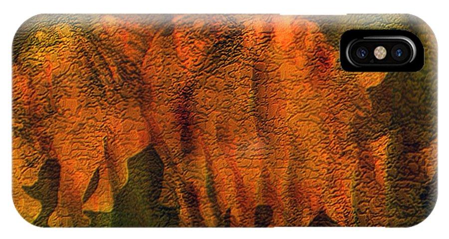 Rhino Art IPhone X Case featuring the mixed media Moods Of Africa - Rhinos by Carol Cavalaris