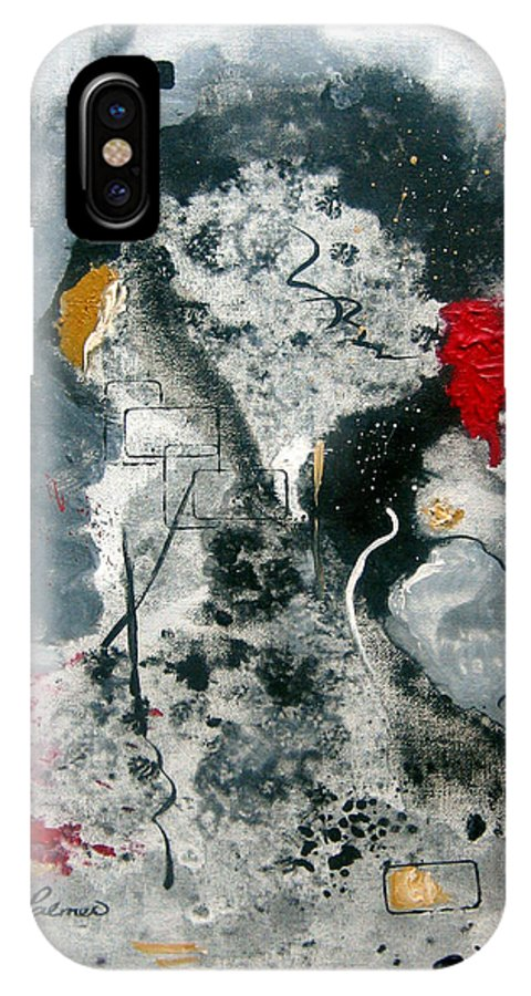 Abstract IPhone X Case featuring the painting Moods by Ruth Palmer