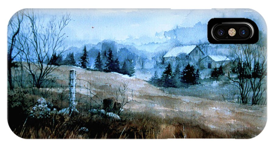 Moody Landscape Art IPhone X Case featuring the painting Moody Valley by Hanne Lore Koehler