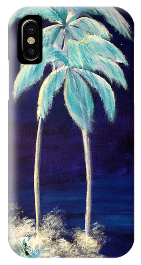 Palm IPhone X Case featuring the painting Moolight Beach by Susan Kubes
