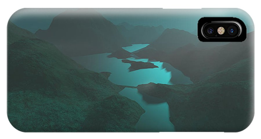 Digital Art IPhone Case featuring the digital art Moon Light At The Mountains by Gaspar Avila