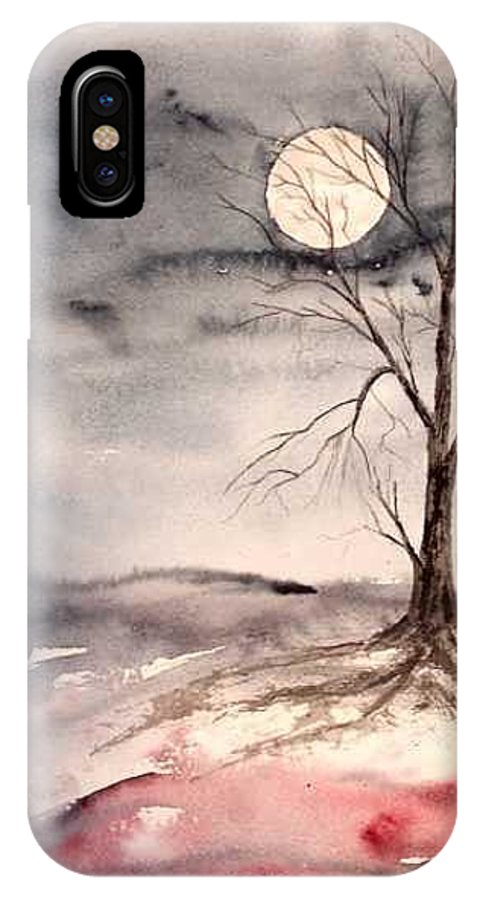 Moon IPhone X / XS Case featuring the painting Moon Light by Derek Mccrea