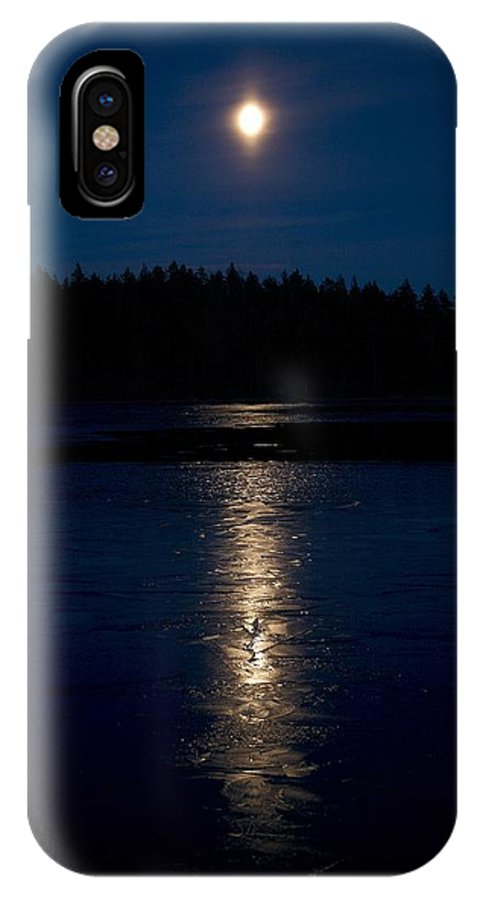 Lehtokukka IPhone X / XS Case featuring the photograph Moon Over Saari-soljanen 1 by Jouko Lehto